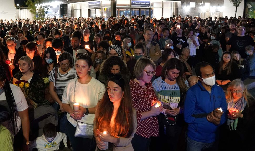 Members of the public attend a vigil in memory of Sabina Nessa, and in solidarity against violence against...
