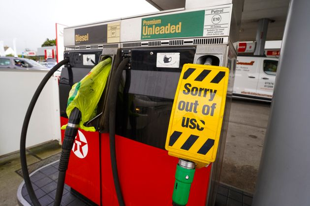 Pumps out of action due to fuel shortages at a Texaco franchise garage in Helston,