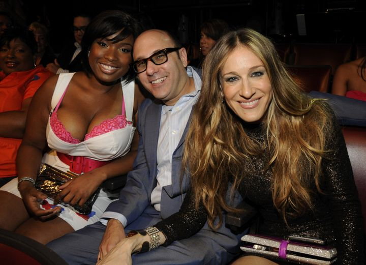 """Willie Garson (center) and Sarah Jessica Parker (right) in 2008 with Jennifer Hudson (left), who appeared alongside the pair in the """"Sex and the City"""" movie."""