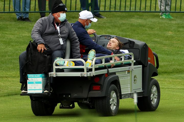 Tom Felton is taken off the course at Whistling Straits in Wisconsin after collapsing during a celebrity match ahead of the 43rd Ryder Cup.