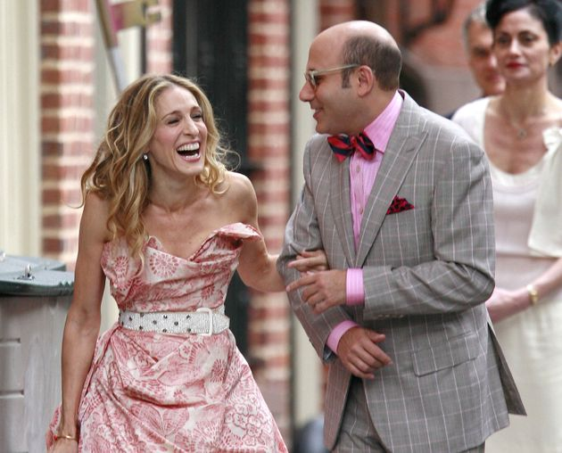 Sarah Jessica Parker and Willie Garson pictured on the set of the first Sex And The City film in