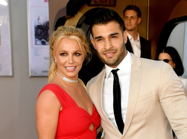 Britney Spears and Sam Asghari attend the premiere of Once Upon A Time In