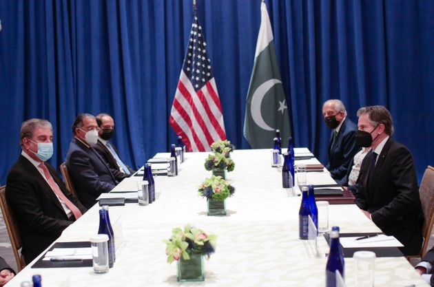 Pakistani Foreign Minister Shah Mahmood Qureshi, left, meets with U.S. Secretary of State Antony Blinken,...