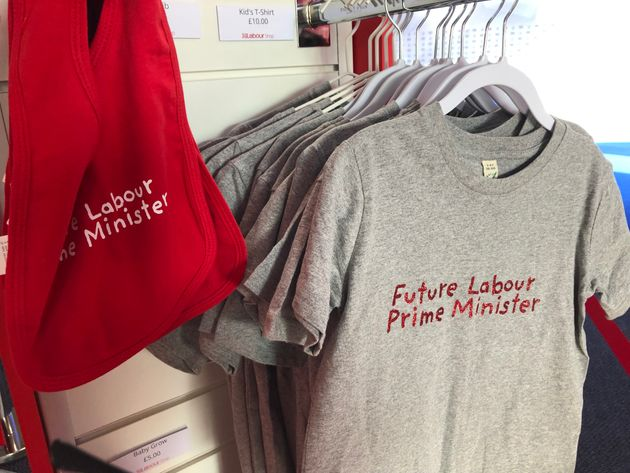 Baby clothes on sale at Labour Party conference