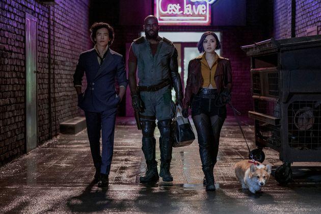 COWBOY BEBOP (L to R) JOHN CHO as SPIKE SPIEGEL, MUSTAFA SHAKIR as JET BLACK, DANIELLA PINEDA as FAYE...