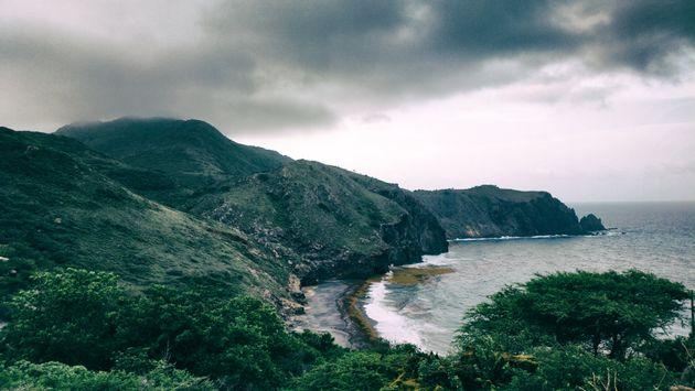 Wild black sand beach in Montserrat,