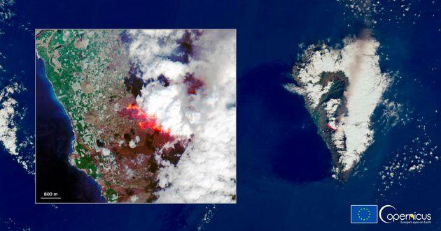 Imagen vía satélite del volcán de La