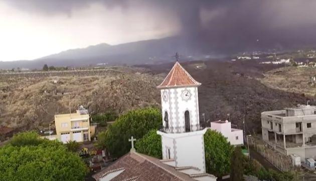 Iglesia de Todoque, en La Palma, antes de su colapso por la lava del