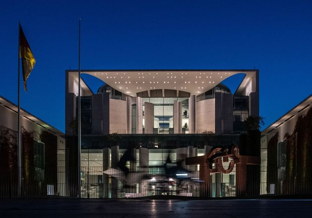 The chancellery is pictured in Berlin on September 26, 2021 at the evening after the German general elections....