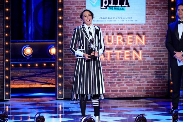 Lauren Patten accepts the Tony Award for best performance by an actress in a featured role in a musical...