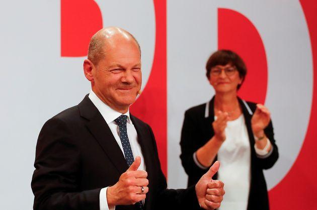 Le leader du SPD et candidat à la chancellerie Olaf Scholz après les élections fédérales en Allemagne,...