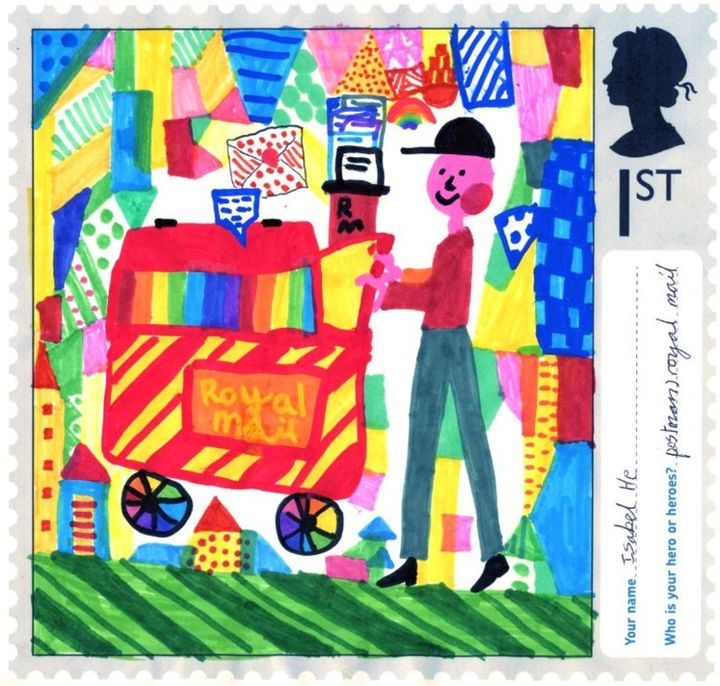 A stamp designed by Isabel He, aged seven, from Holy Trinity Primary School in Gravesend, Kent.