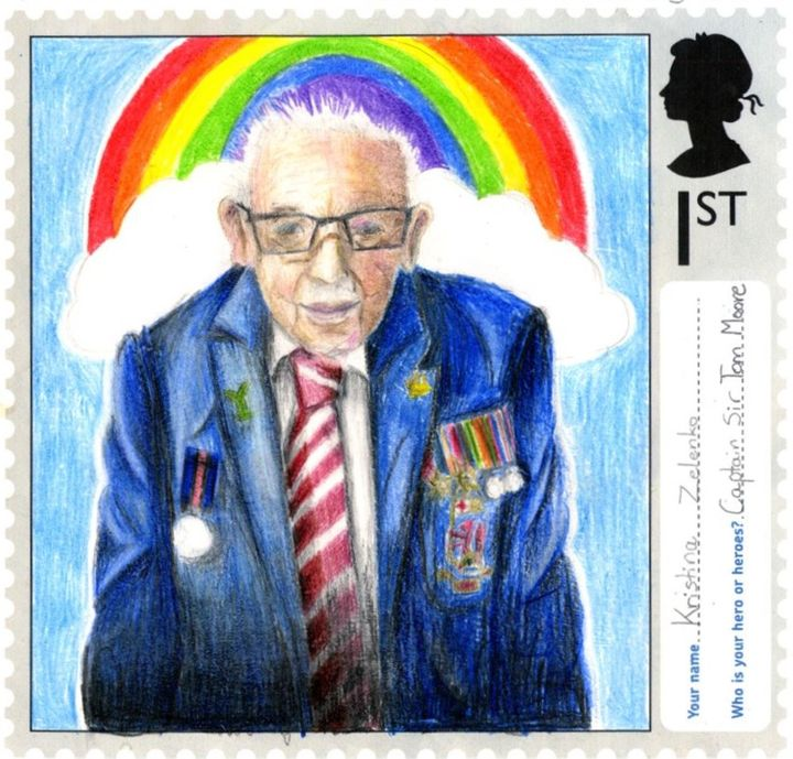 A stamp designed by Kristina Zelenko, aged 11, from All Saints Church of England Primary School in Bishop's Stortford, Hertfordshire.