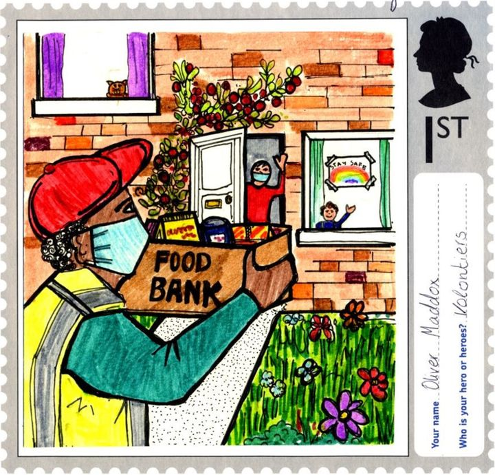 A stamp designed by Oliver Maddox, aged 12, from Hall Cross Academy in Doncaster, South Yorkshire.