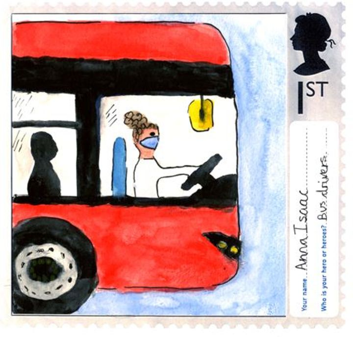A stamp designed by Anna Issac, aged 10, from St Jude's Church of England Primary School in London.