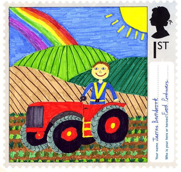 A stamp designed by James Bambrook, aged 10, from Hamstel Junior School in Southend-On-Sea, Essex.
