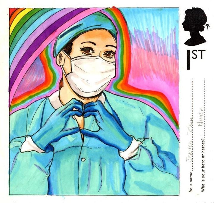A stamp designed by Jessica Zhu, aged 14 from Kelvinside Academy in Glasgow.