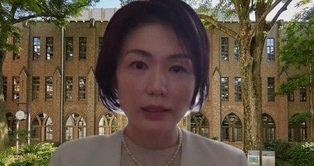 オンラインで取材に応じる学習院大学の江藤名保子教授
