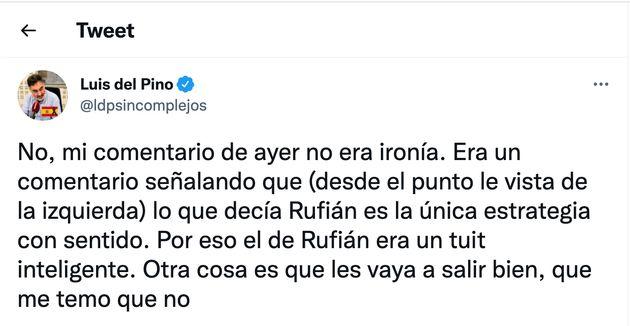 Tuit de Luis del Pino sobre