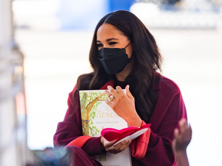 Meghan Markle was seen wearing a black scalloped-edge face mask in Harlem on Sept. 24, 2021 in New York City.