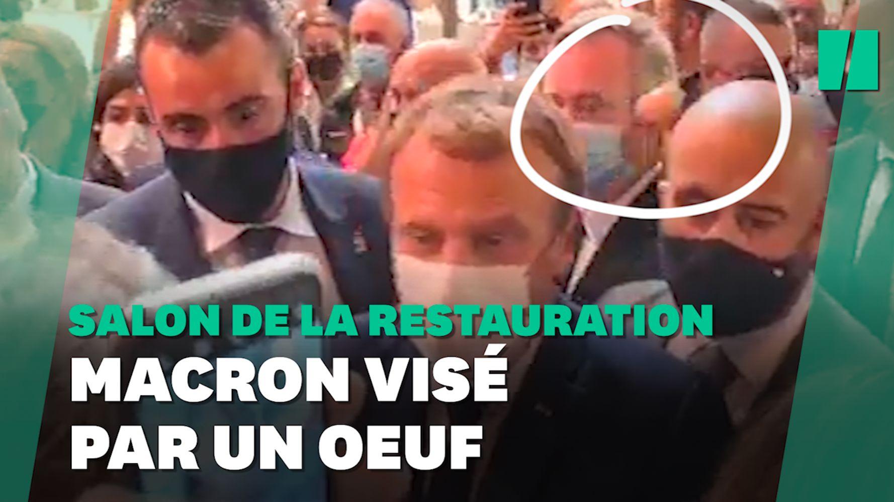 À Lyon, Macron visé par un jet d'œuf lors d'un salon de la restauration