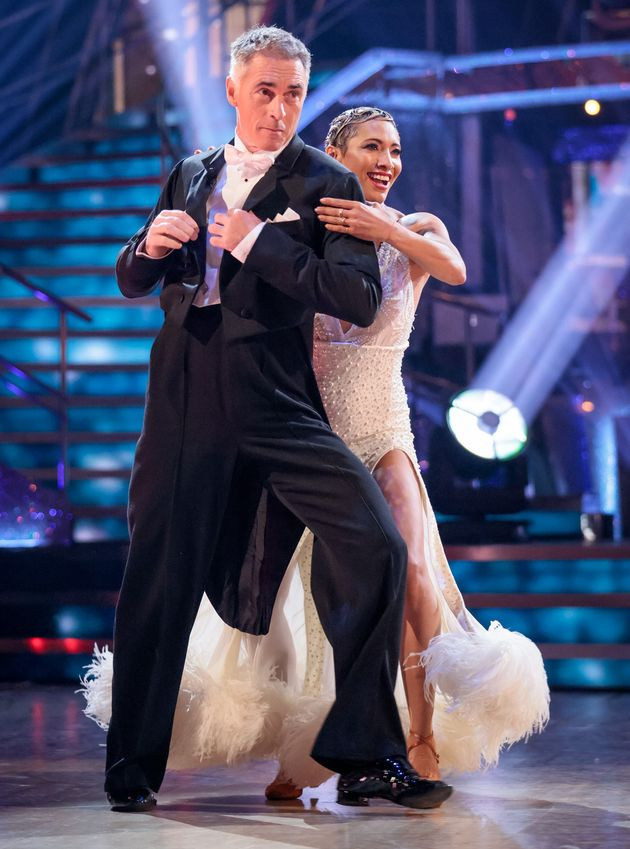 Greg and dance partner Karen Hauer on the first Strictly live