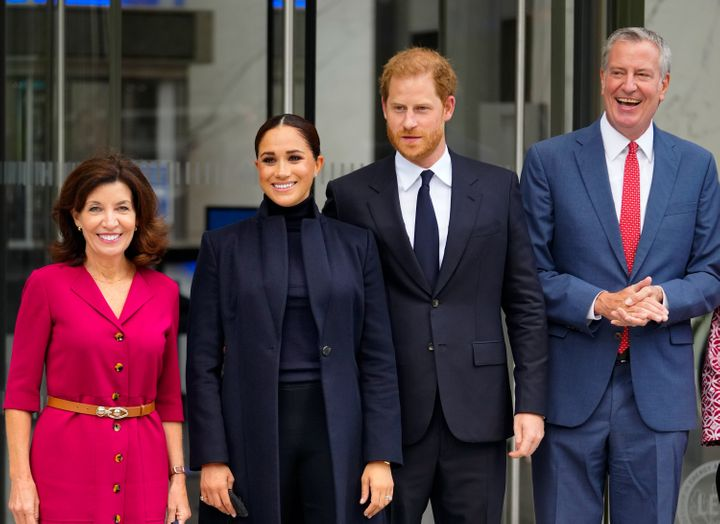 Gov. Kathy Hochul, the Duke and Duchess of Sussex, and Mayor Bill de Blasio visit One World Trade Center on Sept. 23 in New York City.