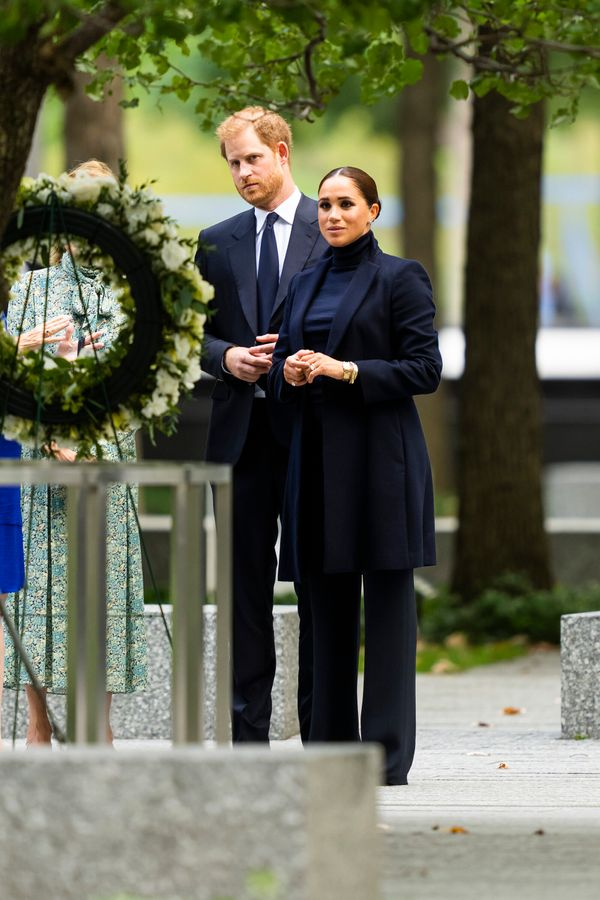 The Sussexes observe a wreath on the grounds of the Sept. 11 memorial.
