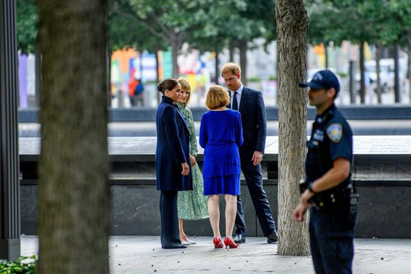 Harry and Meghan seen on the grounds of the Sept. 11 memorial.