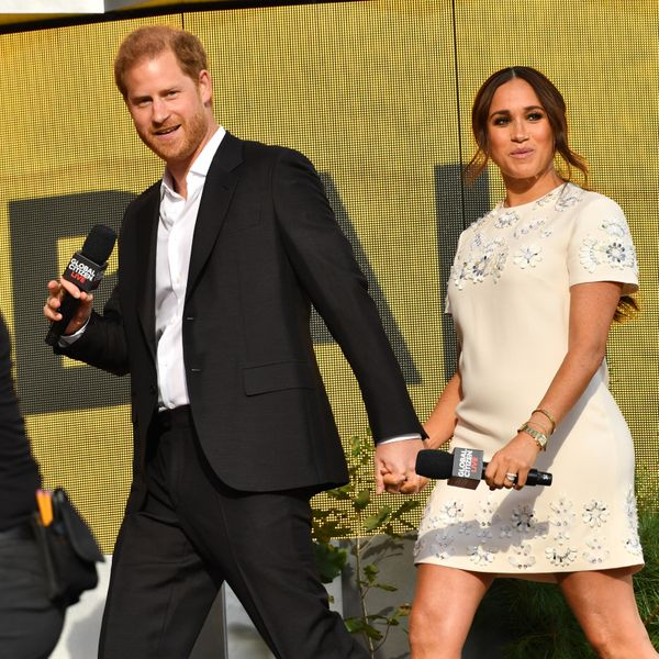 Harry and Meghan take the stage at the Global Citizen Live concert.