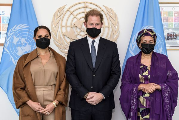 The Sussexes pose with U.S. Deputy Secretary-General Amina Mohammed during the the 76th session of the U.N. General Assembly.