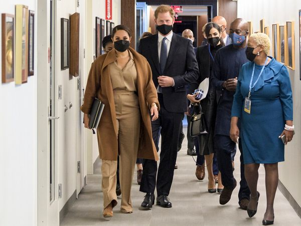 Meghan and Harry visit the United Nations headquarters during the 76th session of the U.N. General Assembly on Saturday.