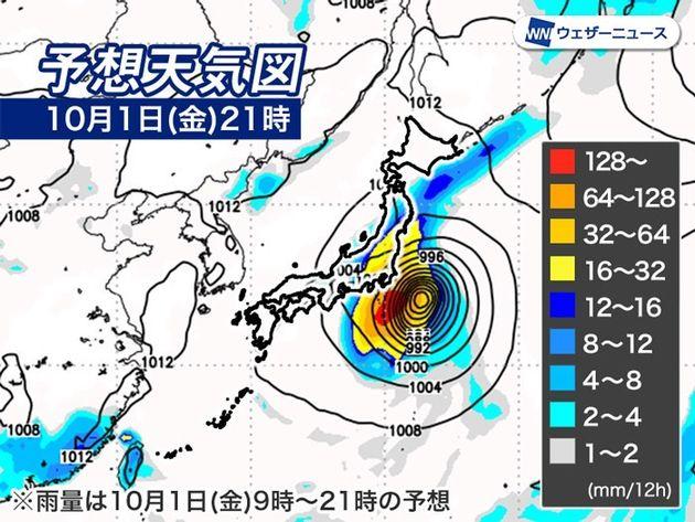10月1日(金)予想天気図と雨の予想