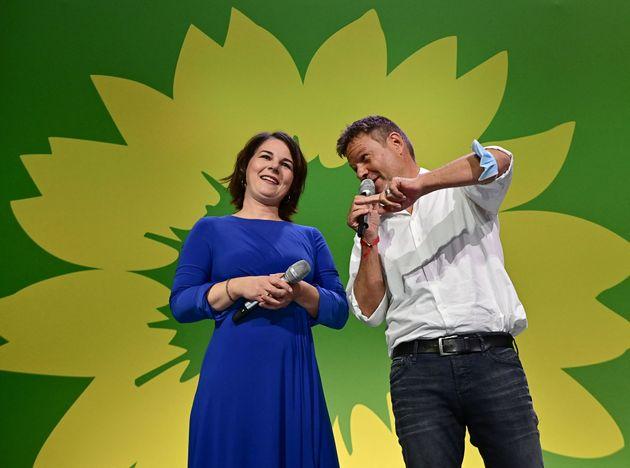 Annalena Baerbock y Robert Habeck, colíderes de Los Verdes alemanes, el pasado domingo, en