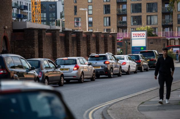 Motorists queue for fuel at a Tesco garage in Lewisham on September 26,
