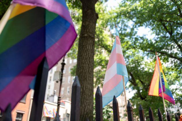 Illustration de rainbow flag et du drapeau trans à New York le 26 juin 2020.