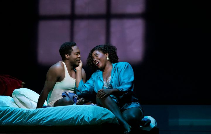 """Actors Angel Blue and Will Liverman perform a scene during a rehearsal for Terence Blanchard's """"Fire Shut Up in My Bones,"""" at the Metropolitan Opera on Sept. 24."""