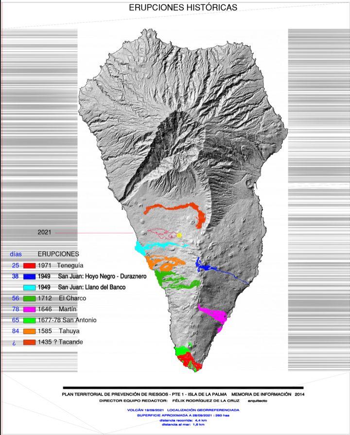 Mapa de prevención de riesgos volcánicos de La Palma con las distintas erupciones volcánicas.
