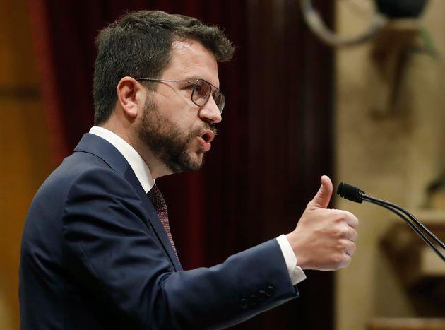 Pere Aragonès, este martes, en el Parlamento de