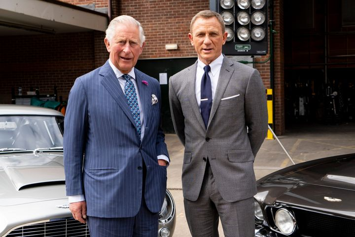 Charles poses with Daniel Craig as he tours the set of the 25th James Bond film at Pinewood Studios on June 20, 2019, in Iver Heath, England.