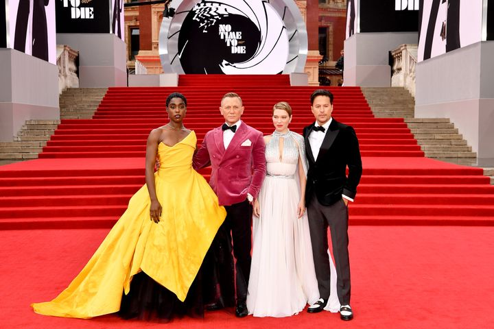 """Lashana Lynch, Daniel Craig, Léa Seydoux and Cary Joji Fukunga attend the world premiere of """"No Time to Die"""" at the Royal Albert Hall on Sept. 28 in London."""