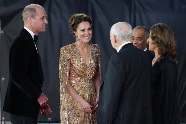 The royals work the carpet.