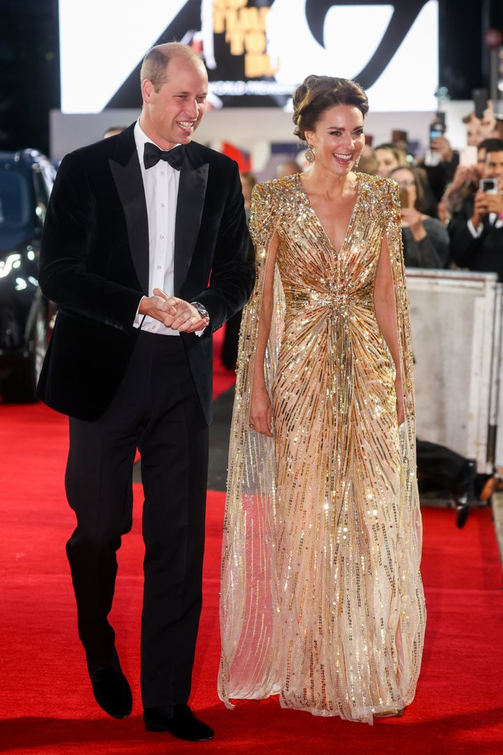 """The Duke and Duchess of Cambridge attend the """"No Time to Die"""" world premiere."""