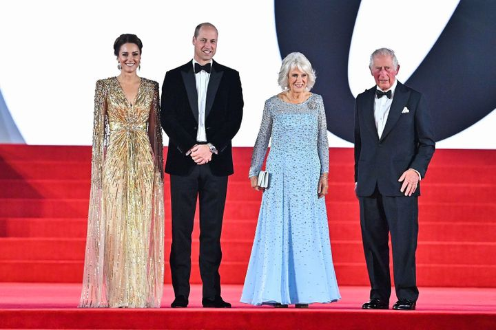 """From left: Kate Middleton; Prince William; Camilla, Duchess of Cornwall; and Prince Charles attend the premiere of """"No Time t"""
