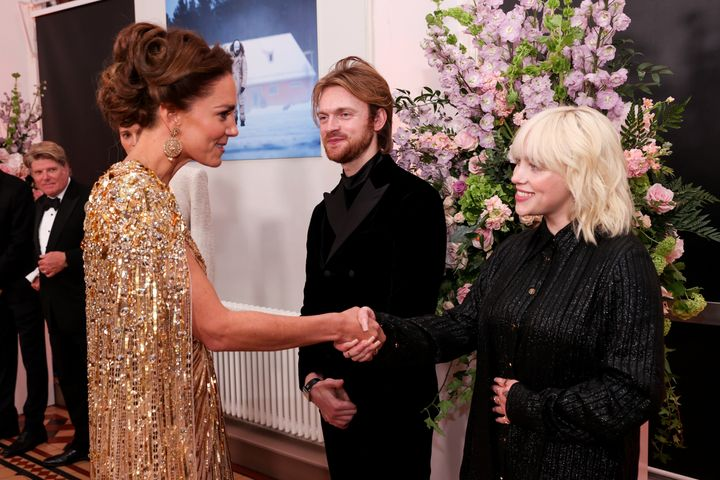The Duchess of Cambridge greets Billie Eilish.