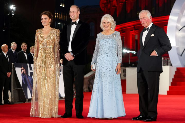 Members of the royal family pose together at the premiere.