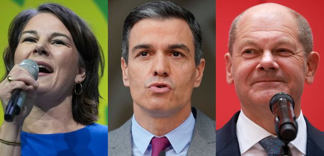 Annalena Baerbock, líder de los Verdes alemannes; Pedro Sánchez, presidente del y...