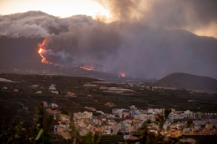 Lava flows from the Cumbre Vieja volcano towards the Atlantic Ocean on Sept. 29, 2021, in in La Palma, Canary Islands, Spain.