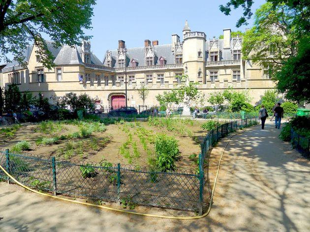 Le square Paul-Painlevé, à Paris, en avril