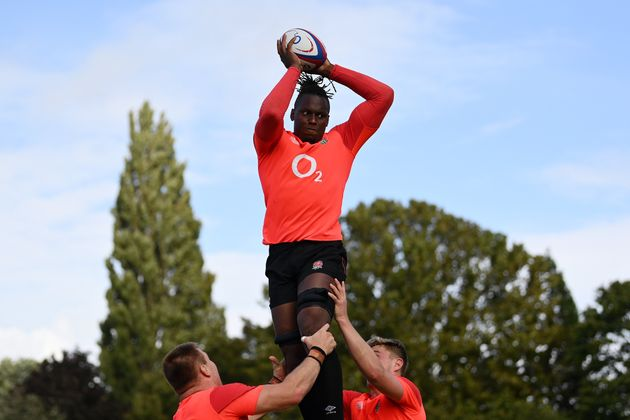 Maro Itoje during a recent training session in London.